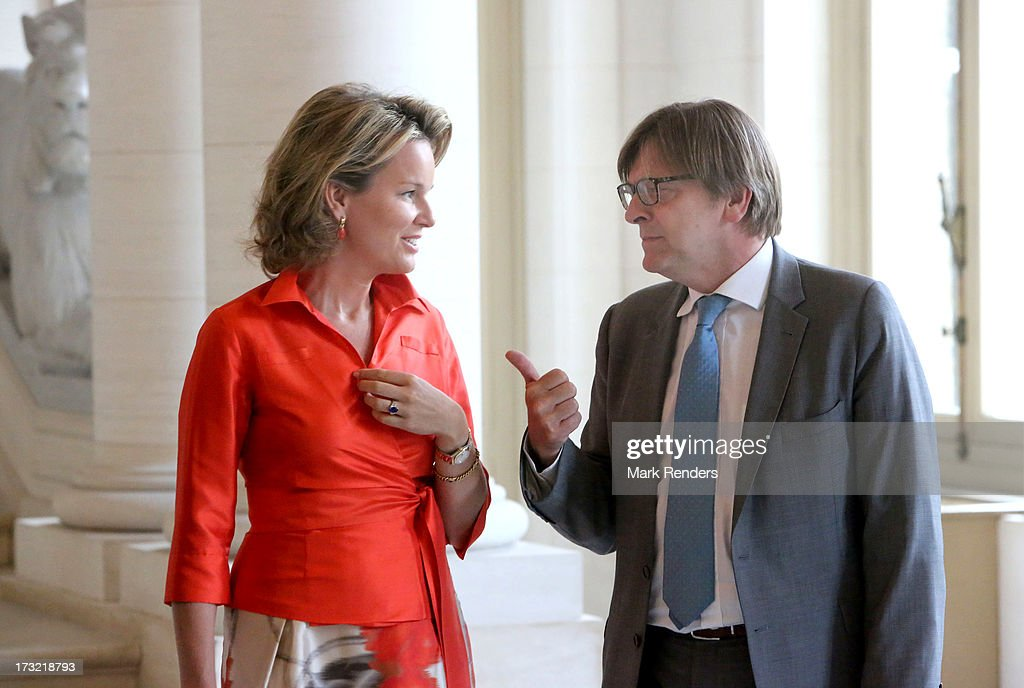 Princess Mathilde of Belgium meets with former Belgian Prime Ministers, including Guy Verhofstadt (R) at Laeken Castle on July 10, 2013 in Brussels, Belgium.