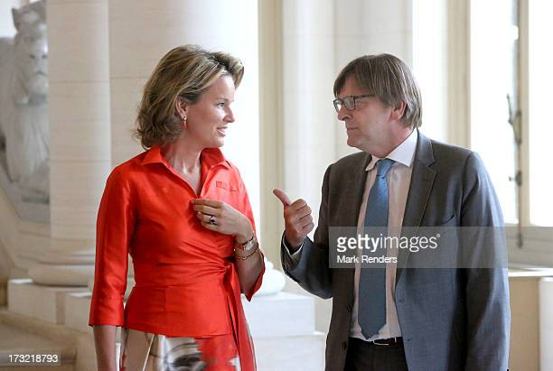 Princess Mathilde of Belgium meets with former Belgian Prime Ministers including Guy Verhofstadt at Laeken Castle on July 10 2013 in Brussels Belgium