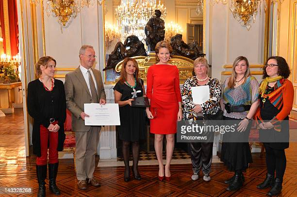 Princess Mathilde of Belgium poses with peopel from the Service Tremplin winners of the Princess Mathilde Award 2012 award at the Princess Mathilde...