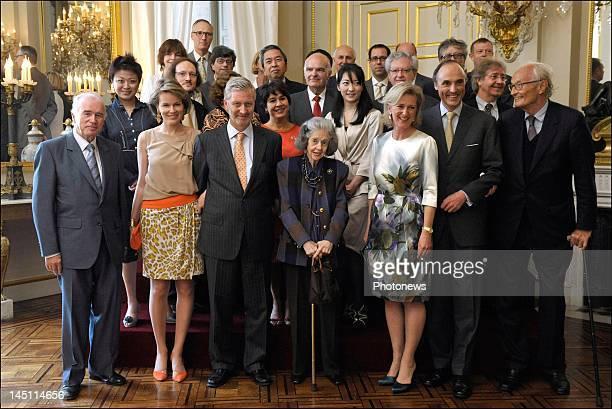 Princess Mathilde of Belgium, Prince Philip of Belgium, Queen Fabiola of Belgium, Princess Astrid of Belgium and Prince Lorenz of Belgium attend a...