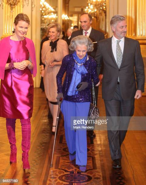 Princess Mathilde of Belgium Princess Astrid of Belgium Queen Fabiola of Belgium Prince Lorenz of Belgium and Prince Philippe of Belgium assist in a...
