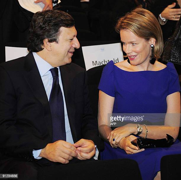 Princess Mathilde of Belgium speaks with European Commission President Jose Manuel Barroso at the launch of a European partnership for action against...