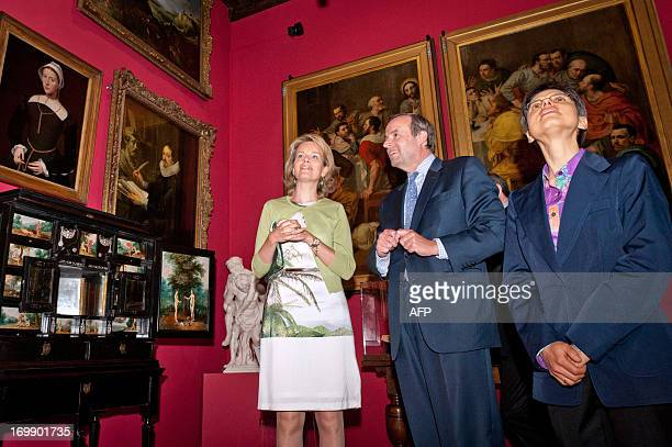 Princess Mathilde of Belgium Thomas Leysen President of the board of directors of KBC Group and Antwerp province governor Cathy Berx visit on June 4...