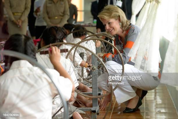 Princess Mathilde of Belgium visits the Ban Kredrakarn Unicef Center on March 21 2013 in Bangkok Thailand Prince Philippe And Princess Mathilde of...
