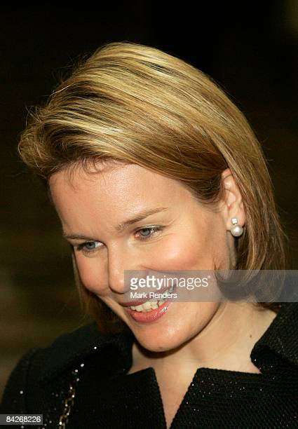 Princess Mathilde of Belgium visits the Le Sourire de Bouddha exhibition at the Palais des BeauxArts with Prince Philippe of Belgium on January 13...