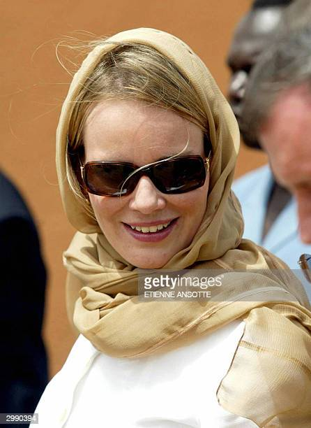 Princess Mathilde of Belgium wears a headscarf during a visit to the village of Birni N'Gouare in Niger 17 February 2004 Princess Mathilde and...