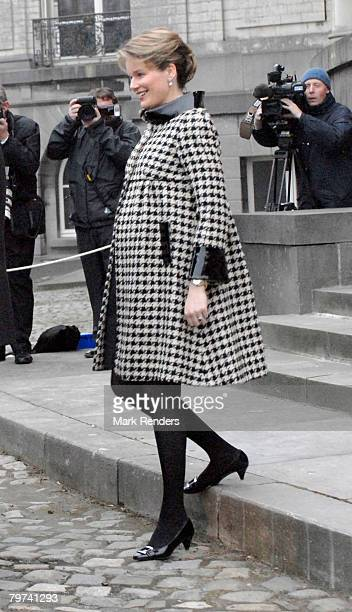 Princess Mathilde of Belgium welcomes Prince Charles Prince of Wales outside Laeken Castle on February 13 2008 in Brussels Belgium Prince Charles...