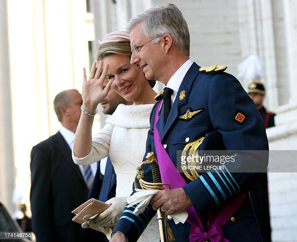 Princess Mathilde of Belgium with Crown Prince Philippe of Belgium waves after attending the Te Deum mass on the occasion of Belgian National Day at...
