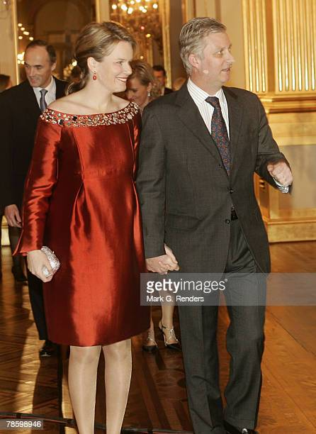Princess Mathilde Prince Philippe from the Belgian Royal Family arrive at the Royal Palace to attend a Christmas concert on December 20 2007 in...