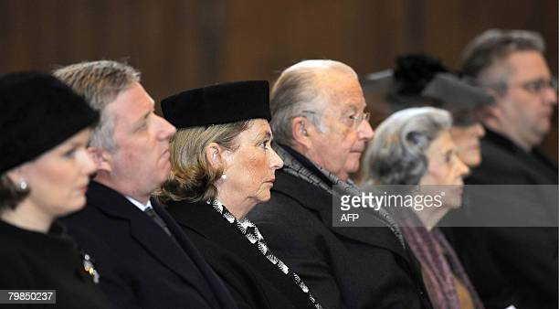 Princess Mathilde, Prince Philippe, Queen Paola, King Albert II and Queen Fabiola of Belgium are pictured during a mess for the 15th anniversary of...