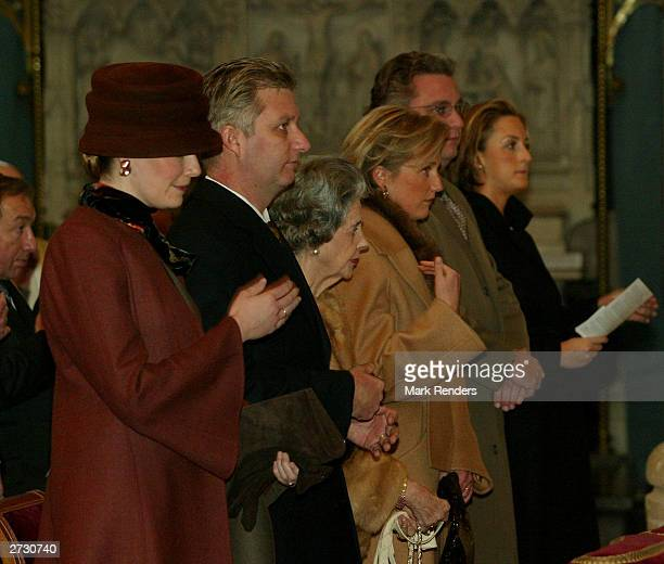 Princess Mathilde Prince Philippe Queen Paola Princess Astrid Princess Astrid and Princess Claire attend the Holy Mass in the St Michel Kathedral...