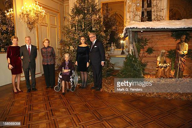 Princess Mathilde Prince Philippe Queen Paola Queen Fabiola Princess Claire and Prince Laurent of Belgium attend the Christmas Celebration at Palais...