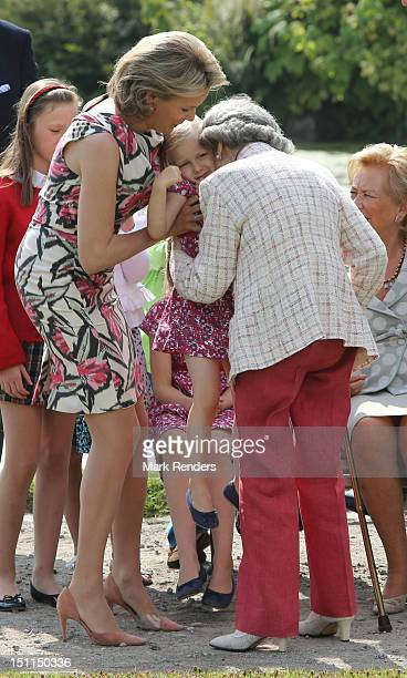 Princess Mathilde Princess Elisabeth and Queen Fabiola of Belgium attend the Belgian Royal Family official photocall at Laeken Castle on September 2...