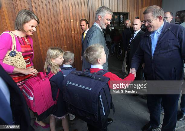 Princess Mathilde Princess Elisabeth Prince Gabriel Prince Emmanuel and Prince Philippe of Belgium arrive at Sint Jan Berghmans College on September...