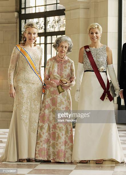 Princess Mathilde Queen Fabiola and Princess Maxima pose for a photo at Laken Castle before the gala dinneras part of the threeday during visit of...