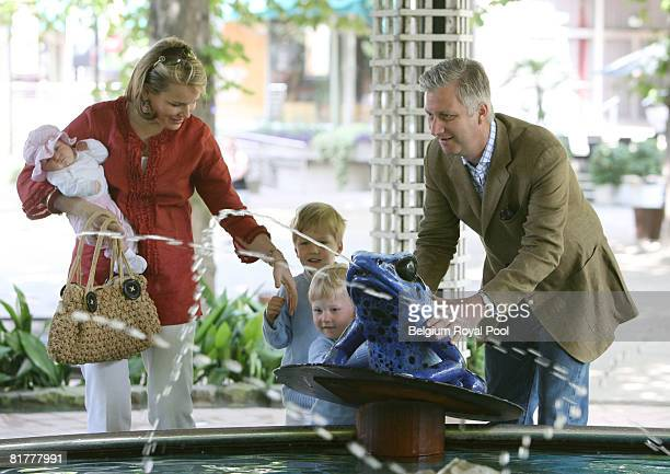 Princess Mathilde with baby Eleonore Prince Gabriel Prince Emmanuel and Prince Philippe of Belgium pose for Belgian Royal Family Holiday Photographs...