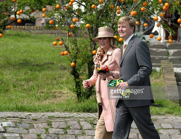 Princess Maxima and her husband Crown Prince WillemAlexander of the Netherlands attend the traditional Queens Day celebrations on April 30 2005 in...