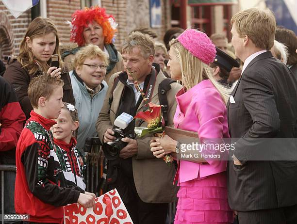 Princess Maxima and Prince Alexander from the Dutch Royal Family greet the crowd on Queensday April 30 2008 in Makkum The Netherlands