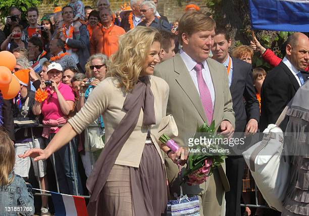 Princess Maxima and Prince Willem Alexander of The Netherlands celebrate Queens Day on April 30 2011 in Thorn Netherlands