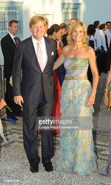Princess Maxima and Prince WillemAlexander arrive to attend the wedding of Tatiana Blatnik with Prince Nikolaos of Greece at the Cathedral of Ayios...