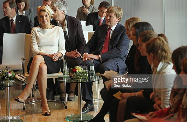 Princess Maxima and Prince WillemAlexander of the Netherlands attend a discussion with German and Dutch youth at the Dutch Embassy on April 12 2011...