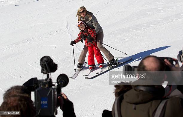 Princess Maxima and Princess Ariane of The Netherlands ski as the press gather at the annual winter photocall on February 18, 2013 in Lech, Austria.