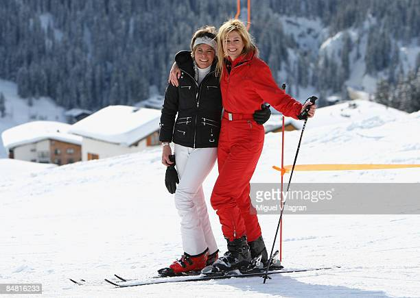 Princess Maxima and Princess Laurentien pose for a picture during the start of the annual Austrian skiing holiday of the Dutch Royal family at the...