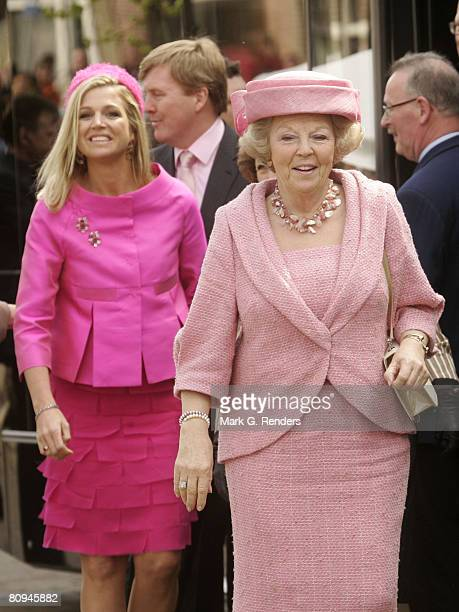 Princess Maxima and Queen Beatrix from the Dutch Royal Family greet the crowd on Queensday April 30 2008 in Makkum The Netherlands