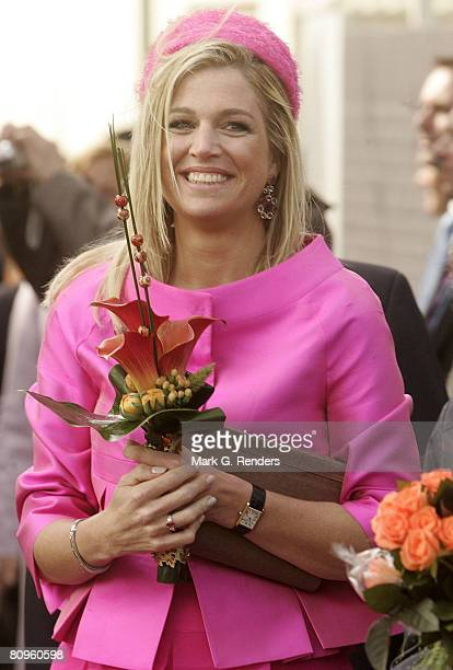 Princess Maxima from the Dutch Royal Family greets the crowd on Queensday April 30 2008 in Makkum The Netherlands