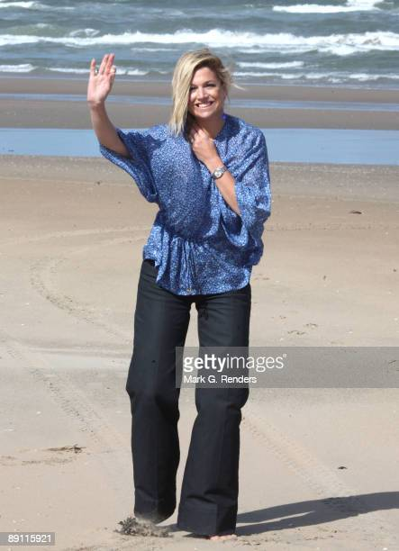 Princess Maxima from the Netherlands attends a photocall at the beach on July 20 2009 in Wassenaar Netherlands