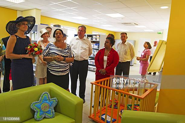 Princess Maxima inaugurates on October 31, 2011 a building of the Youth and Family Foundation in Kraiendijk on the Dutch Caribean island of Bonaire....