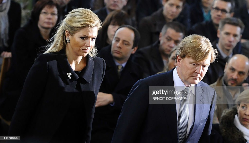 Princess Maxima of the Netherlands and Dutch Crown Prince Willem-Alexander arrive on March 22, 2012 at the Sint-Pieters church in Leuven for a funeral service for the seven children from Heverlee, who were killed in the March 13 bus crash in Switzerland. Twenty-eight people were killed in the crash in a tunnel in Sierre, southern Switzerland, including 22 children from two schools in Lommel and Heverlee on their way home from a ski vacation.