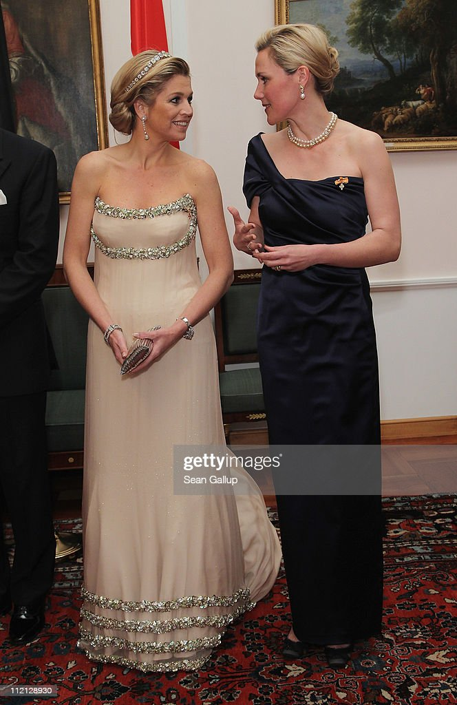 Princess Maxima of the Netherlands (L) and German First Lady Bettina Wulff attend a state banquet given in honour of the visiting Dutch royals at Bellevue Presidential Palace on April 12, 2011 in Berlin, Germany. The Dutch royals, including Queen Beatrix, Prince Willem-Alexander and Princess Maxima, are on a four-day visit to Germany that includes stops in Berlin, Dresden and Duesseldorf.