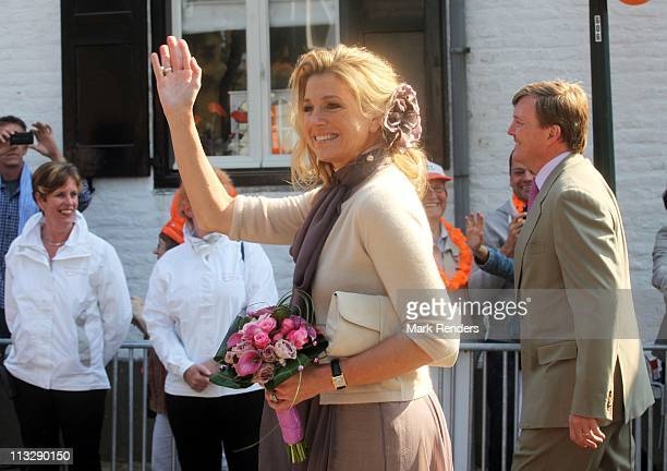 Princess Maxima of The Netherlands and Prince Willem Alexander of The Netherlands celebrates Queens Day on April 30 2011 in Thorn Netherlands