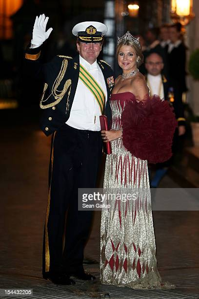 Princess Maxima of the Netherlands and Prince Willem Alexander of the Netherlands attend the Gala dinner for the wedding of Prince Guillaume Of...