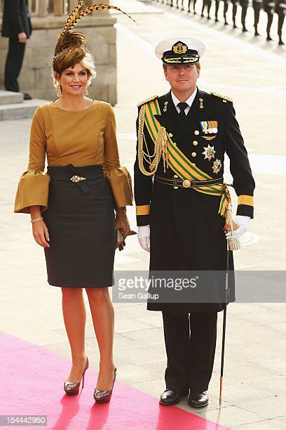 Princess Maxima of the Netherlands and Prince Willem Alexander of the Netherlands emerge from the Cathedral following the wedding ceremony of Prince...