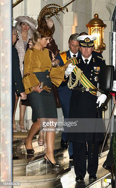 Princess Maxima of the Netherlands and Prince Willem Alexander of the Netherlands depart from the Grand Ducal Palace prior to the wedding ceremony of...