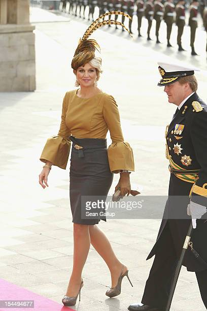Princess Maxima of the Netherlands and Prince Willem Alexander of the Netherlands attend the wedding ceremony of Prince Guillaume Of Luxembourg and...