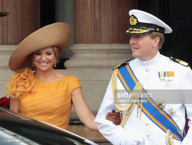 Princess Maxima of the Netherlands and Prince Willem-Alexander are seen leaving the Hotol de Paris to attend the religious ceremony of the Royal...