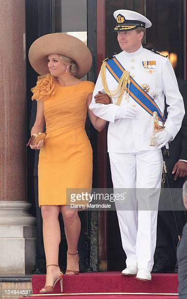 Princess Maxima of the Netherlands and Prince WillemAlexander are seen leaving the Hotol de Paris to attend the religious ceremony of the Royal...