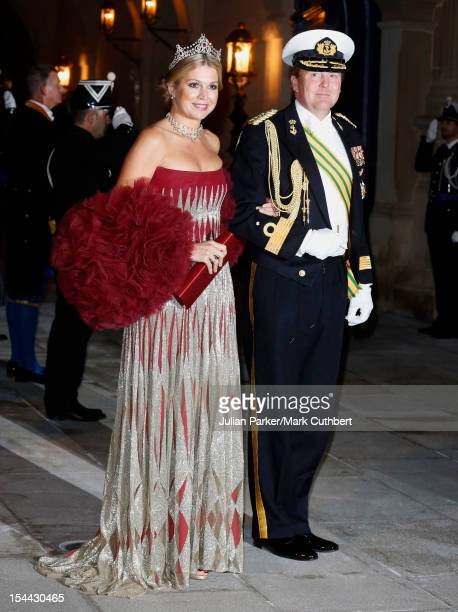 Princess Maxima of the Netherlands and Prince WillemAlexander of the Netherlands attend the Gala dinner for the wedding of Prince Guillaume Of...