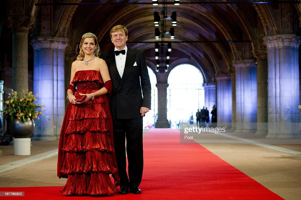 Princess Maxima of the Netherlands and Prince Willem-Alexander of the Netherlands arrive at a dinner hosted by Queen Beatrix of The Netherlands ahead of her abdication at Rijksmuseum on April 29, 2013 in Amsterdam, Netherlands.