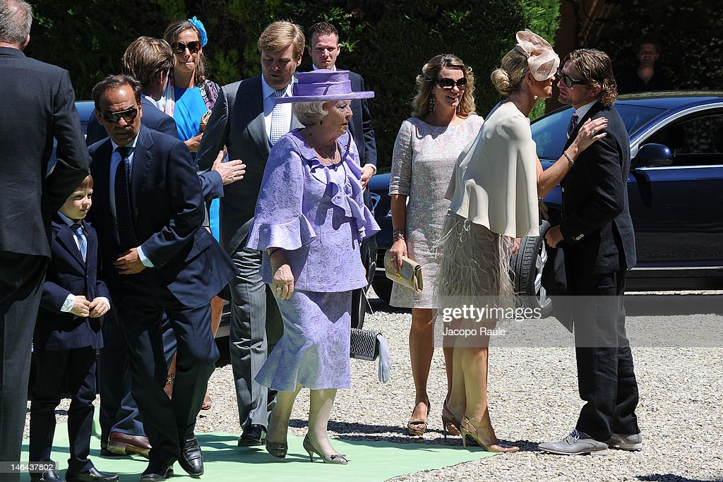Princess Maxima of the Netherlands and Queen Beatrix welcome Prince Bernhard at the Princess Carolina Church Wedding With Mr Albert Brenninkmeijer at Basilica di San Miniato al Monte on June 16, 2012 in Florence, Italy.