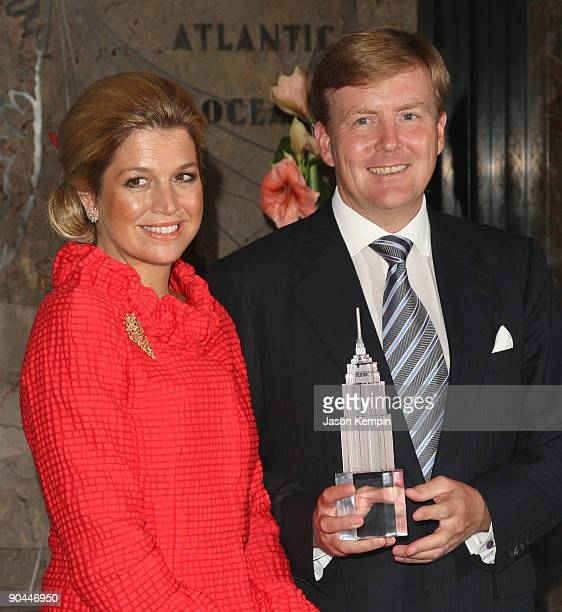 Princess Maxima of the Netherlands and Royal Highness Prince WillemAlexander of Orange attend the launch of NY400 at The Empire State Building on...
