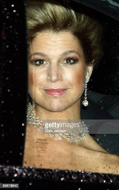 Princess Maxima of The Netherlands arrive at Buckingham Palace for a Gala Party hosted by the Queen to celebrate the 60th Birthday of her son Prince...