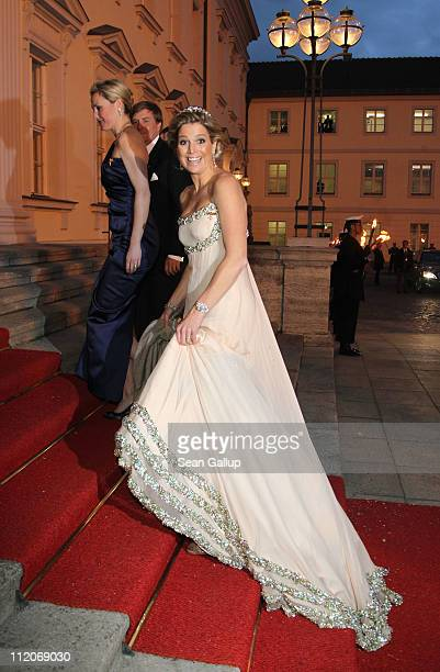 Princess Maxima of the Netherlands arrives at a state banquet given in her honour at Bellevue Presidential Palace on April 12 2011 in Berlin Germany...