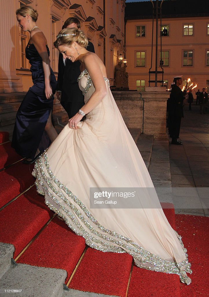Princess Maxima of the Netherlands arrives at a state banquet given in honour of the visiting Dutch royals at Bellevue Presidential Palace on April 12, 2011 in Berlin, Germany. The Dutch royals, including Queen Beatrix, Prince Willem-Alexander and Princess Maxima, are on a four-day visit to Germany that includes stops in Berlin, Dresden and Duesseldorf.