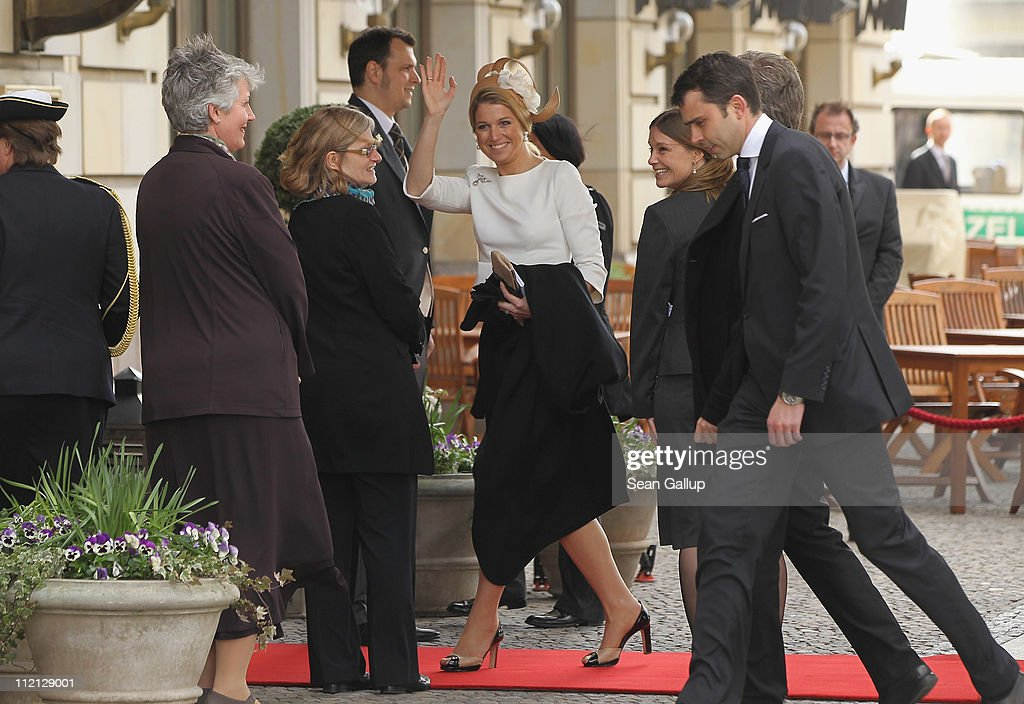 Princess Maxima of the Netherlands (C) arrives at the Adlon Hotel on April 12, 2011 in Berlin, Germany. The Dutch royals, including Queen Beatrix, Prince Willem-Alexander and Princess Maxima, are on a four-day visit to Germany that includes stops in Berlin, Dresden and Duesseldorf.