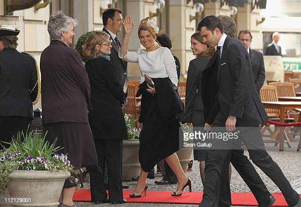 Princess Maxima of the Netherlands arrives at the Adlon Hotel on April 12, 2011 in Berlin, Germany. The Dutch royals, including Queen Beatrix, Prince...