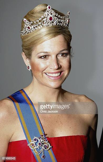 Princess Maxima of the Netherlands arrives for the Gala Dinner at Royal Palace to celebrate King Carl Gustaf XVI of Sweden's 60th Birthday on April...